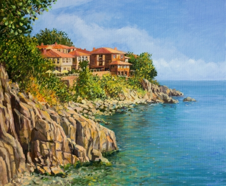 home painting: An oil painting on canvas of a tranquil summer day in Sozopol, Bulgaria Stock Photo