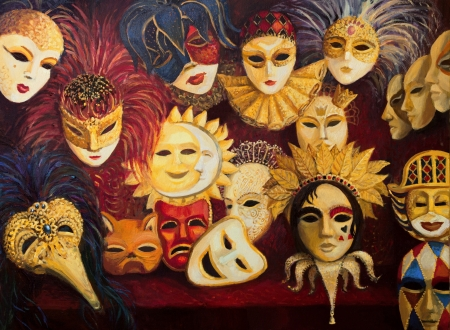 An oil painting on canvas of a colorful ornate traditional venetian masks on display, over a dark red curtain. photo