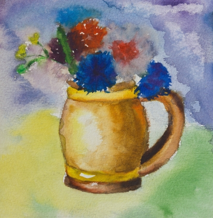 Kids aquarelle drawing of a colorful bouquet of flowers in a small vase over a vivid background. photo