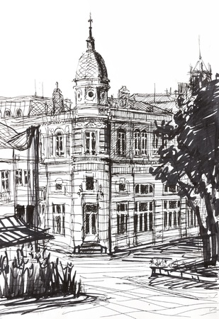 ruse: An ink graphic drawing of an old landmark building in Ruse, Bulgaria. Painted at age of 14. Stock Photo