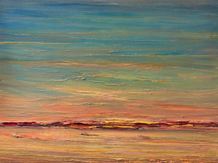 An oil painting on canvas of a colorful expressive sunset landscape over the river. Blue sky with pink, red, orange and yellow hues reflecting in the water surface. photo
