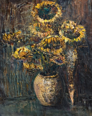 An oil painting on canvas of withered colorful sunflowers bouquet over a dark gray brown background. photo