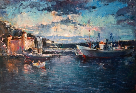 sea seaport: An oil painting on canvas of a colorful sunset over the port with ships entering and leaving the harbor.