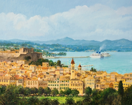 An oil painting on canvas of a beautiful panoramic view of island Corfu photo