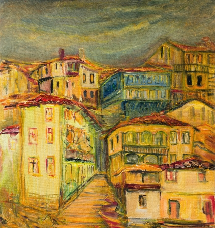 An oil painting on canvas of old vivid village houses, with narrow streets spreaded over a hill with dark grey sky background. photo