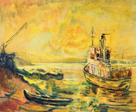 An oil painting on canvas of a beautiful sunrise on Danube river with an old fishing ship and a boat docked at the coastline. photo