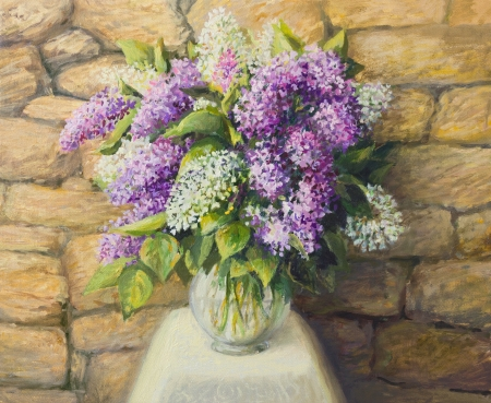 colorful still life: An oil painting on canvas of a beautiful still life with blooming lilacs in a nice glass vase over a stone tiled background. Springtime seasonal artwork. Stock Photo