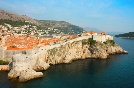 campanille: Panoramic view over the bay toward the old part of Dubrovnik in Dalmatia, Croatia and part of the island Lokrum in Adriatic Sea. Stock Photo