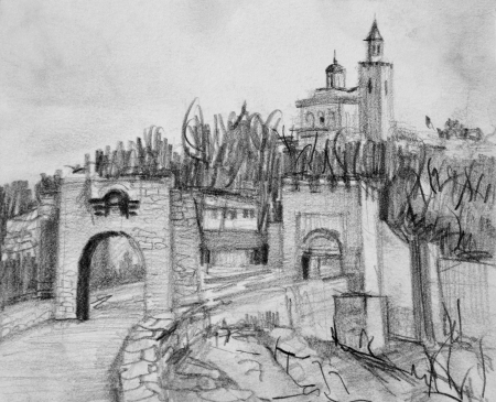 fortified: Pencil black and white drawing of the famous fortress Tsarevets in Veliko Tarnovo in Bulgaria