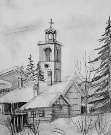 Pencil black and white drawing of an old church in ski resort Bansko in Bulgaria