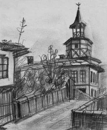 Pencil black and white drawing of the old clock tower in Tryavna, Bulgaria  photo