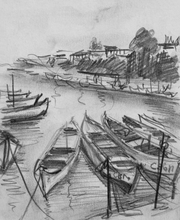 Pencil black and white drawing of the old fishing boats floating in the calm water of Sozopol port in Bulgaria