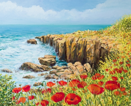 An oil painting on canvas of a coastal summer seascape with a breeze blowing from the sea and vivid red poppies blooming on the cliffs high above the bay with waves rushing toward the shore