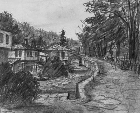 zeichnung: Bleistift schwarz und weiß Zeichnung der traditionellen alten bulgarischen Häuser in ethnographischen Dorf Etara Lizenzfreie Bilder