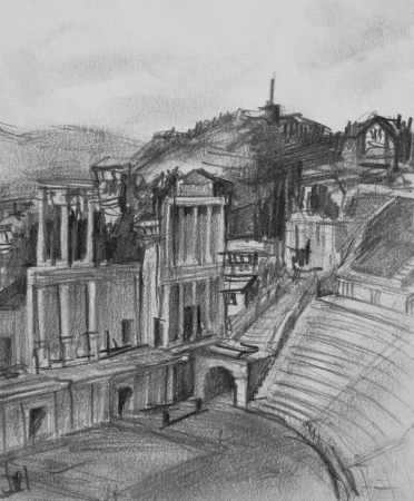 Pencil black and white drawing of antique theatre in Plovdiv, Bulgaria