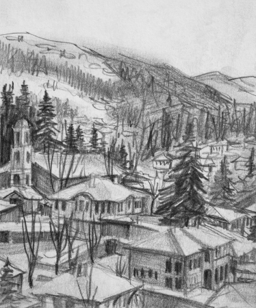 rooftop: Pencil black and white drawing of small town Koprivshtica in Bulgaria  Stock Photo