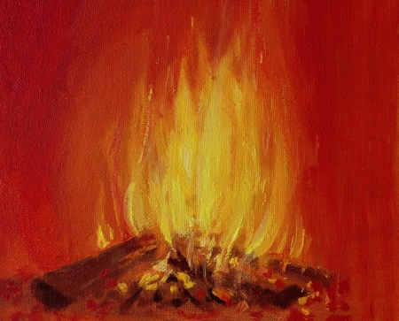 An oil painting on canvas of a bright burning fire in a fireplace, over a vivid red background. Stok Fotoğraf