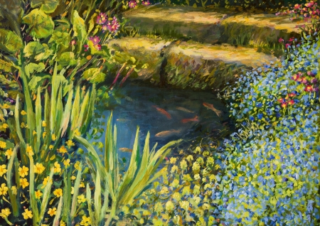 An oil painting on canvas of a small tranquil pond with fishes and colorful blooming flowers. Stok Fotoğraf