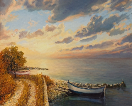 An oil painting on canvas of a romantic colorful sunrise by the sea with a boat floating on a tranquil water surface. photo