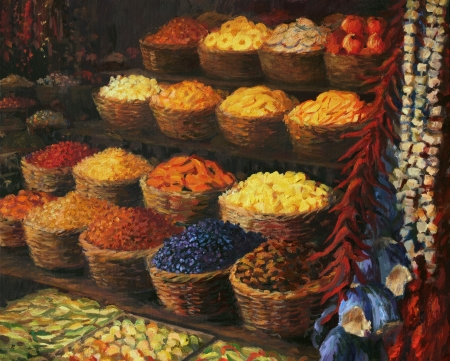 An oil painting on canvas of a colorful market stand in the Orient with fruits, candies, spices and vegetables on display  Colorful palette of scents, vivid colors and joyful hubbub at this magical place