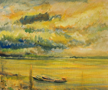An oil painting on canvas of a colorful bright yellow sunset over river Danube with two ships near the river bank