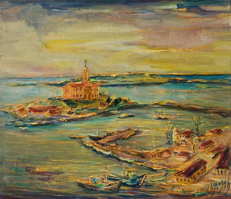 An oil painting on canvas of a colorful seaside scene with boats docked in the harbor and yellow sunset over the small coastal town. Stok Fotoğraf