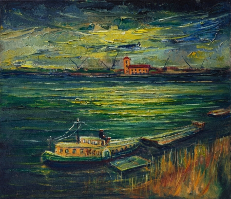 An oil painting on canvas of a colorful sunset with dark clouds after a summer storm over Danube river. photo