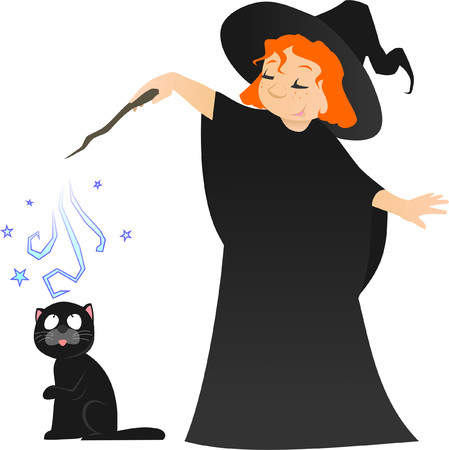 helloween: little witch with her black cat Illustration