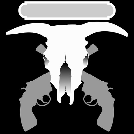 black and white sign with bulls scull and two crossed revolvers
