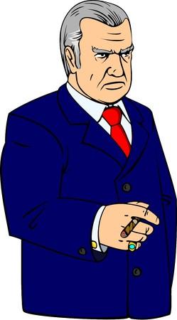 respetable anciano en traje azul oscuro con el cigarro