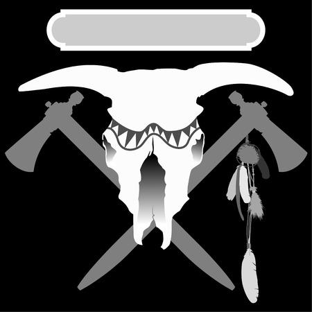 black and white illustration of bulls skull and two crossed tomahawks Ilustração