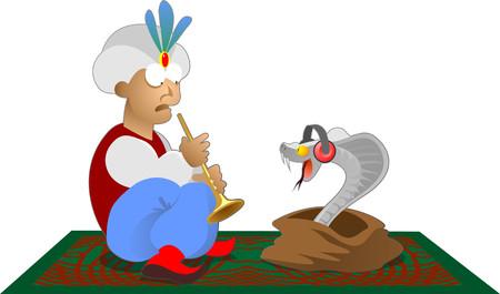fakir and his snake Ilustração