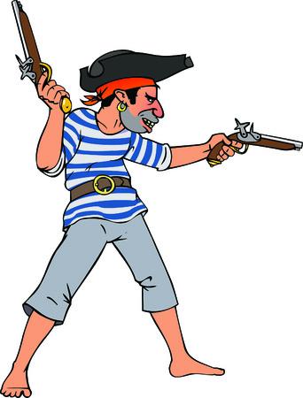 corsair: color illustration of pirate with two pistols