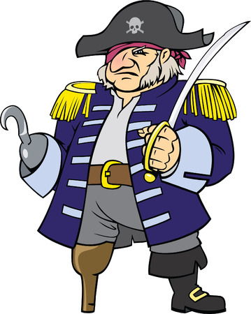 color vector illustration of pirate captain  Vector
