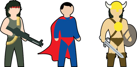 comix: color vector clip-art of action heroes