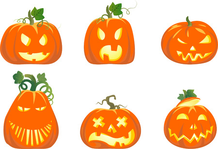 six original halloween pumpkins Vector