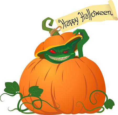 Sneaky green goblin inside pumpkin with handwritten inscription halloween illustration Vector