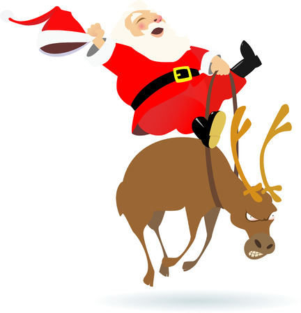 santa claus and deer illustration Illustration