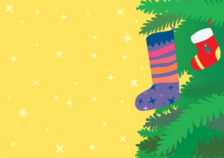 christmas greeting card with socks on spruce branches Vector