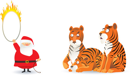 ringmaster:  cartoon picture with santa claus and tigers