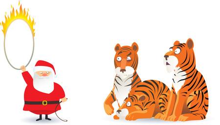 immagine cartone animato con Babbo Natale e tigri  Vettoriali