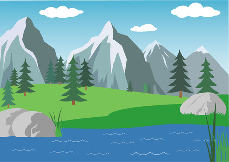 italy landscape: vector landscape with mountains under blue sky Illustration