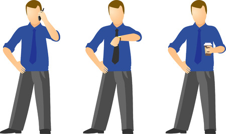 official wear:  clip art of various dressed business men Illustration