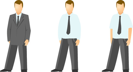 official wear: Vector clip art of various dressed business men