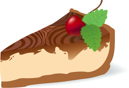 color illustration of cheesecake with cherry and spearmint