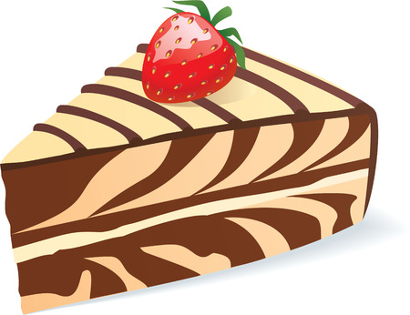 color vector illustration of piece of cake with strawberry Banco de Imagens - 6028134