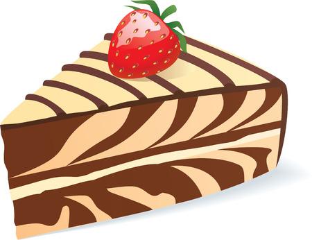 kleur vector illustratie van het stuk van de koek met aardbei Vector Illustratie