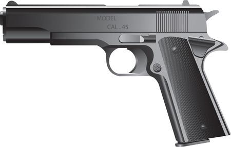 automatic: clip art of black automatic pistol on white background Illustration