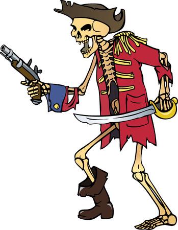 brutal: color vector illustration of pirate captain skeleton