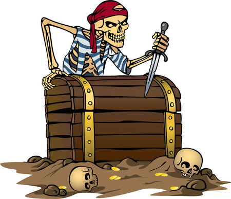 brutal: color vector illustration of pirate skeleton with treasure chest